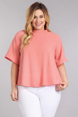 Dashing Sheer Roll Up Sleeve Plus Size Top