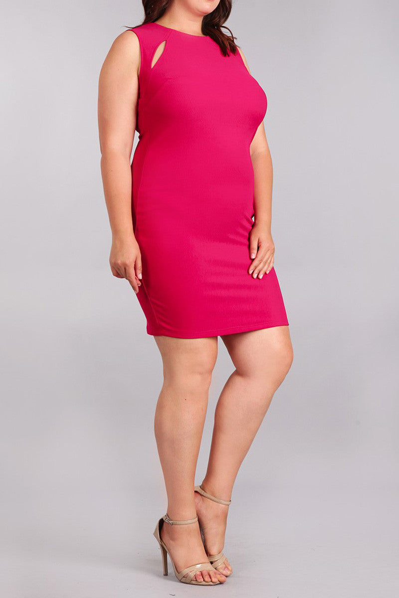 Plus Size Slit Accent Neckline Bodycon Dress