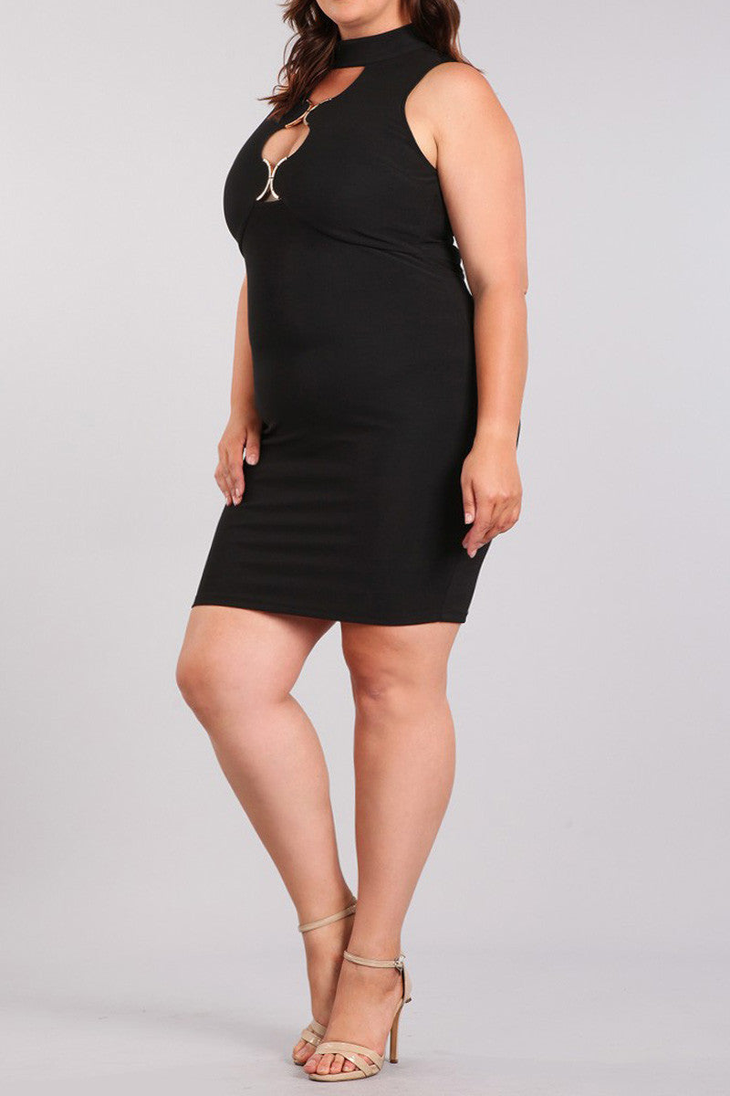 Plus Size Metal Front Cutouts Bodycon Dress