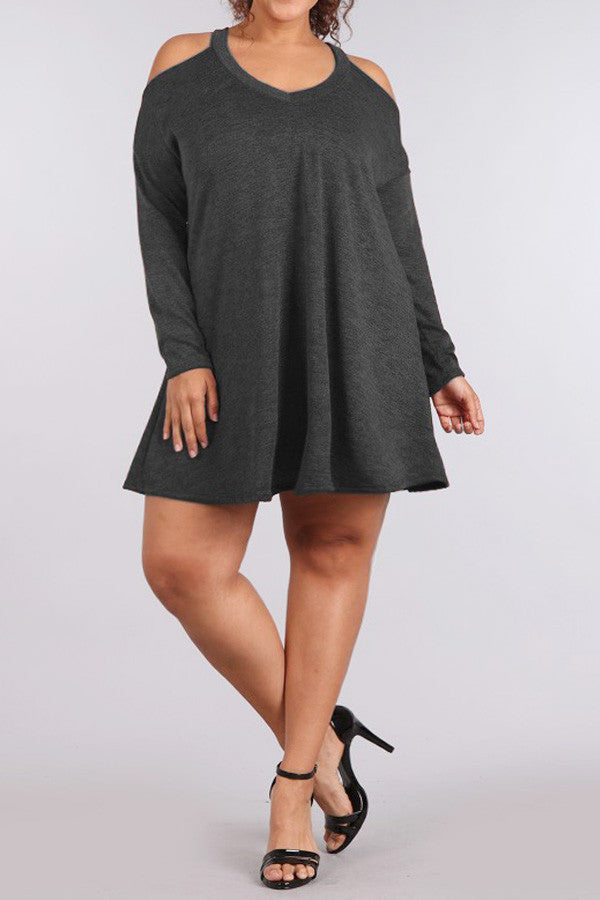 Cut Out Shoulders Knit Plus Size A Line Dress