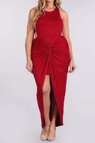 Open Hips Ravishing Plus Size Knot Dress