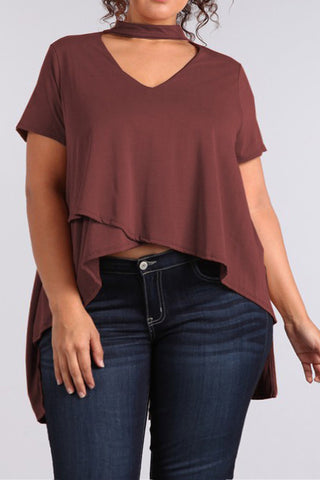 Dashing Layered Plus Size Choker Top