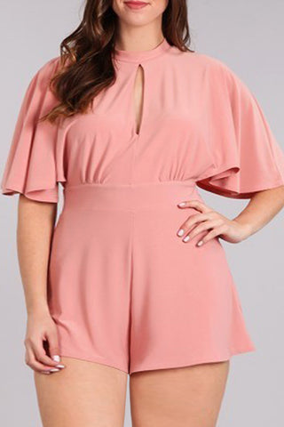 Adorable Solid Keyhole Detail Plus Size Romper