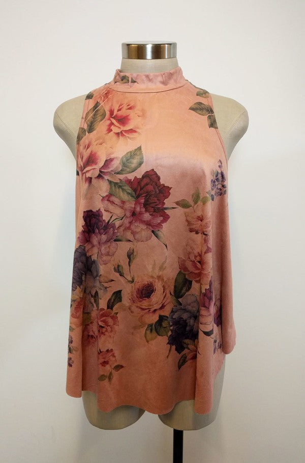 Plus Size Floral Printed Sleeveless Top In A Relaxed Fit - Mauve