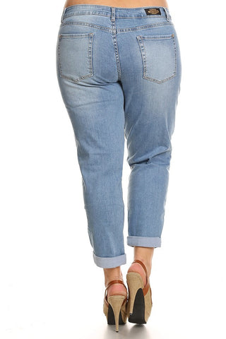 Plus Size High Waist Distressed Denim Boyfriend Jeans