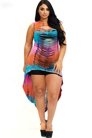 Plus Size Sexy Tie Dye Hi-Lo Laser Cut Dress