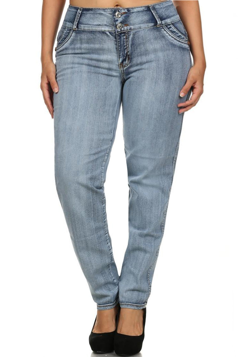 Plus Size Designer Pockets Booty Lifter Denim Jeans