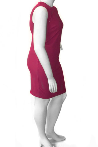 Plus Size Chic Sleeveless Slit Design Dress Rasberry