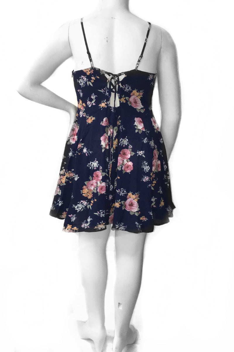 Plus Size Floral Strap Flowy Dress