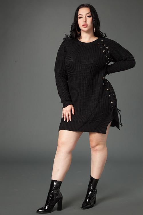 Plus Size Sexy Lace Up Sweater Dress – Plussizefix 4f6f79761