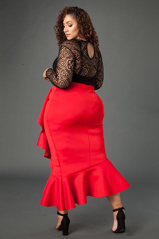 Plus Size Glam Ruffle Wrap Skirt