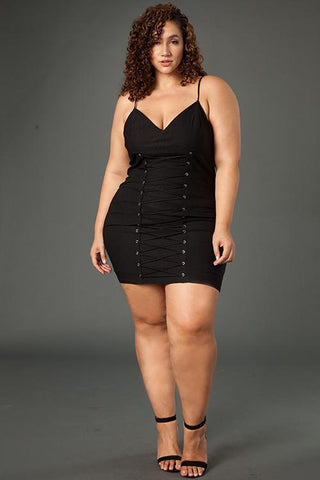 Plus Size Lace Up Mini Dress