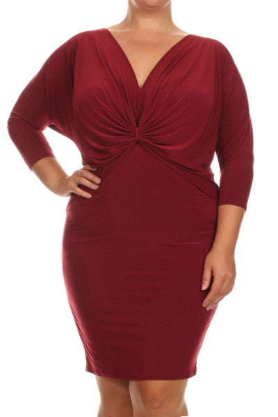 Plus Size Lovely Front Knot Dress