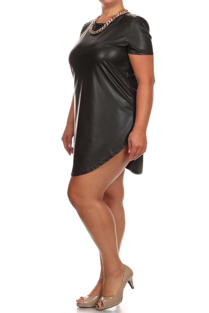 Plus Size Leather Mini Dress with Gold Necklace