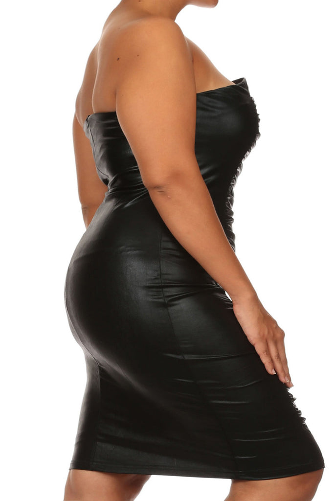 Plus Size Strapless Bodycon Ruched Bodice Dress