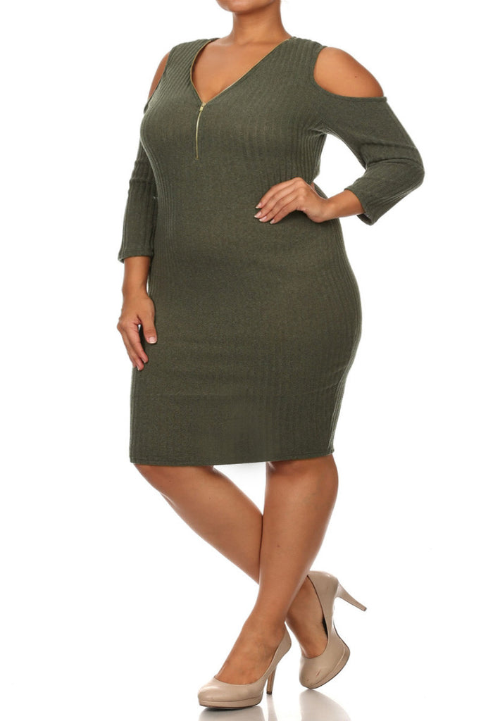 Plus Size Embellished Keyhole Cutout Mid Dress-1