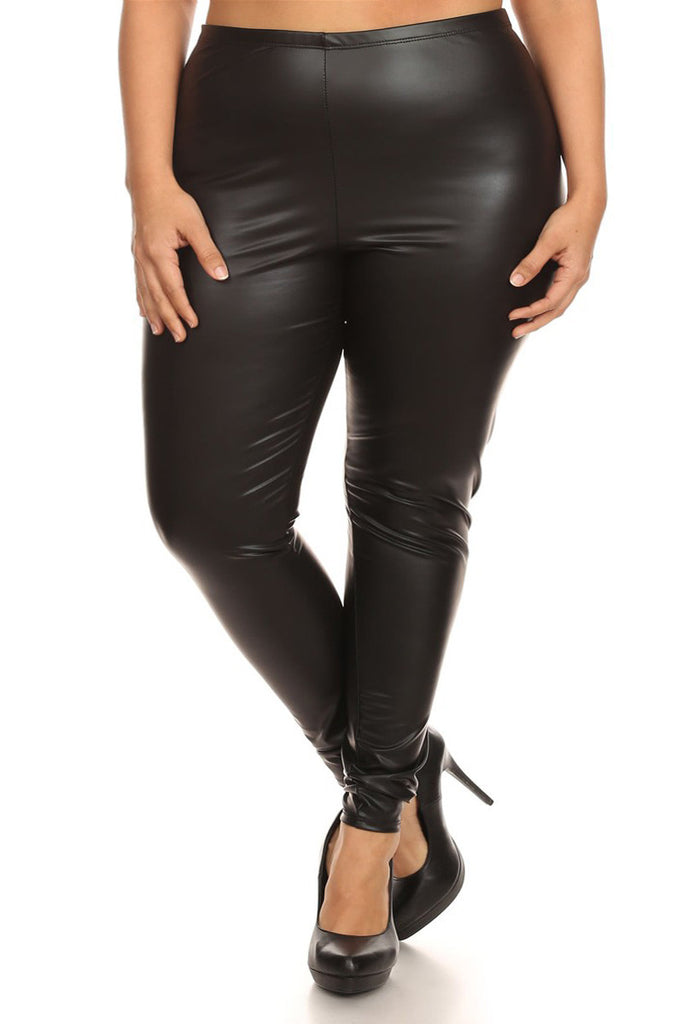 Plus Size Chic High Waist Leather Leggings