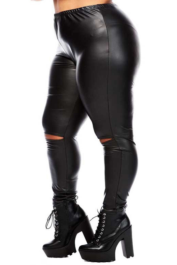 Plus Size Knee Slit PU Leggings