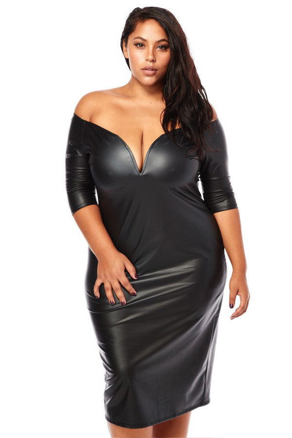 7213809cb4417 Plus Size Sexy Plunging Shoulder Leather Dress – Plussizefix