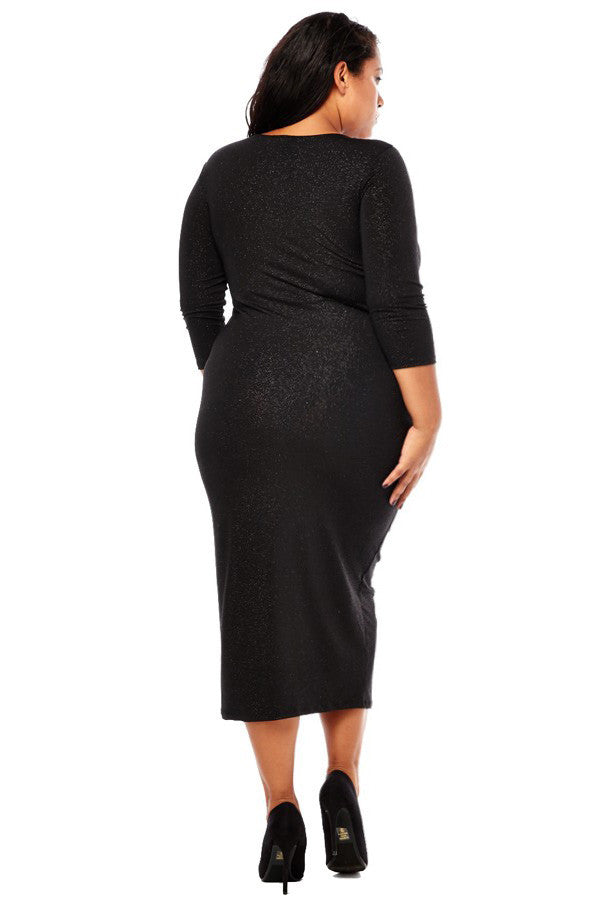 Plus Size Sparkling Zip Up Ruched Dress