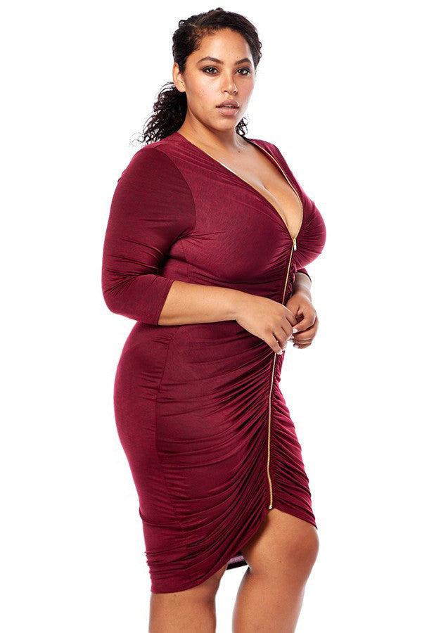 Plus Size Shine Bright Front Zipper Ruched Dress