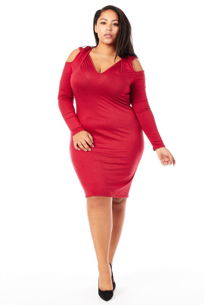 Plus Size Cold Cross Shoulder Long Sleeve Dress