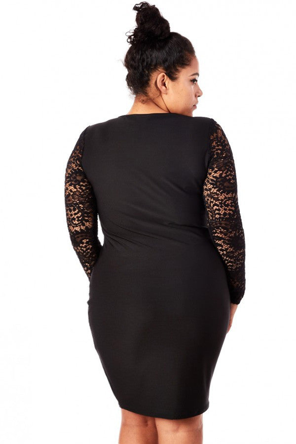 Plus Size Designer Lace Contrast Hourglass Dress
