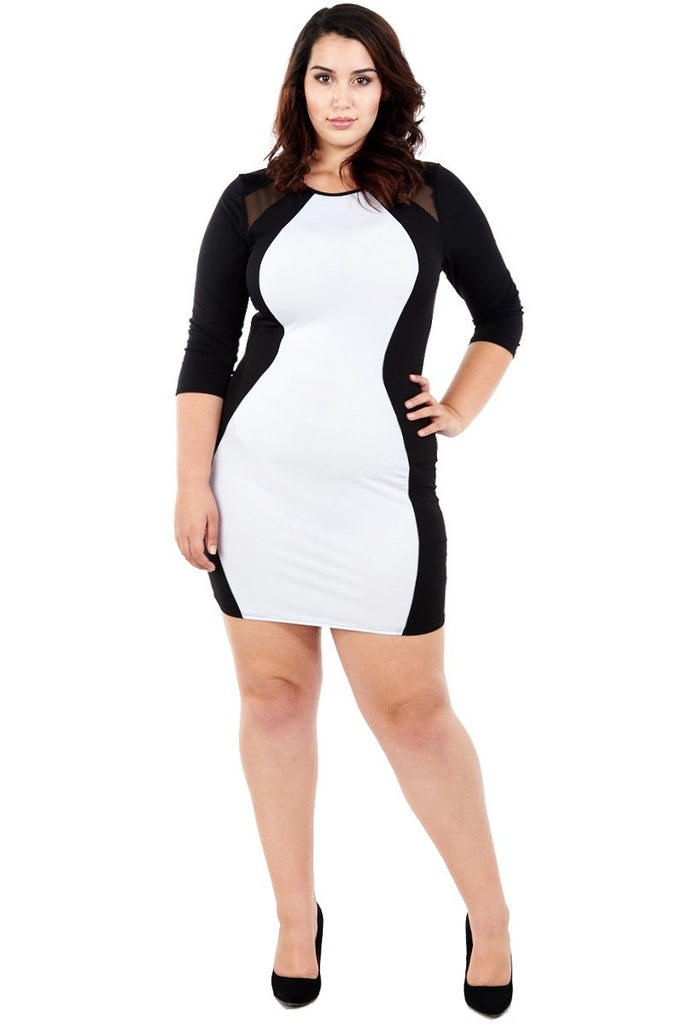 Plus Size Alluring Hourglass Color Block Dress
