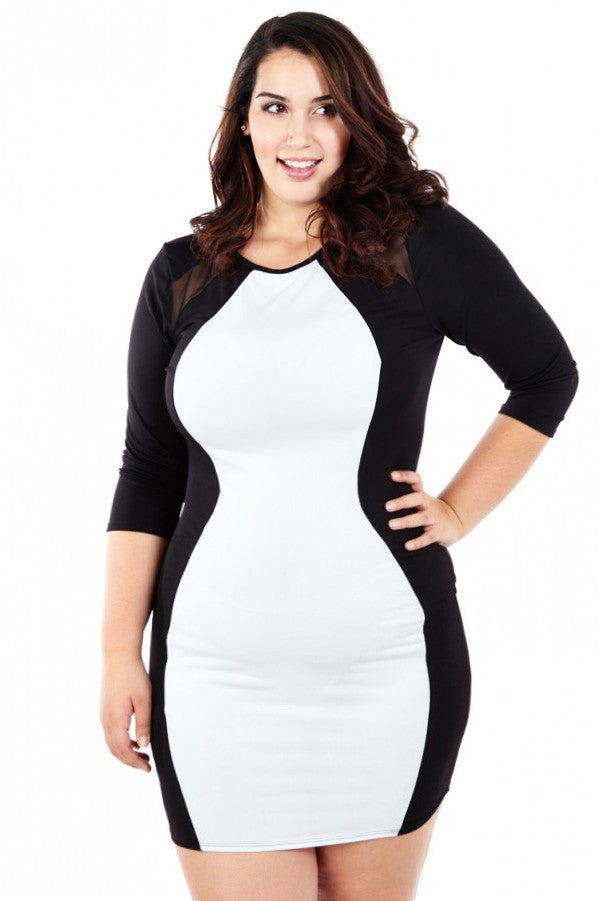 Plus Size Alluring Hourglass Color Block Dress – Plussizefix