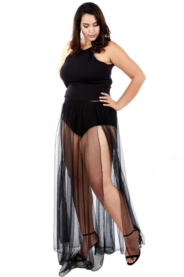 Plus Size Halter Top & Underlined Maxi Skirt SET