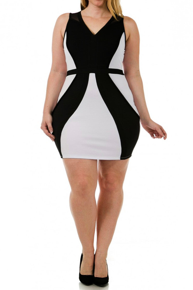 Bandage Colorblock Piping Sexy Plus Size Dress
