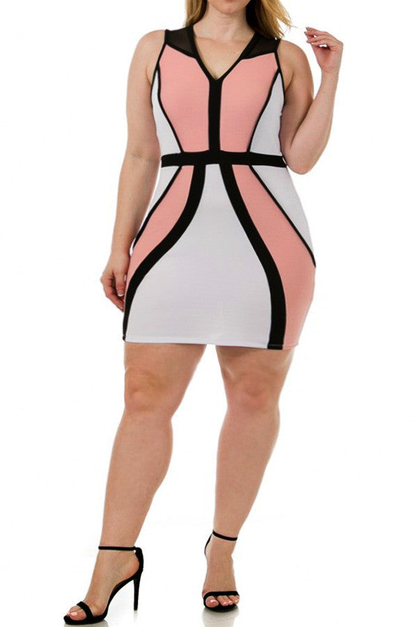 8cd1155e91d Bandage Colorblock Piping Sexy Plus Size Dress – Plussizefix