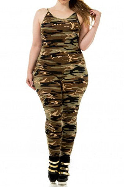 In Command Camo Sexy Plus Size Jumpsuit