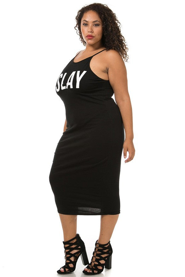 Slaying All Day Plus Size Graphic Midi Dress