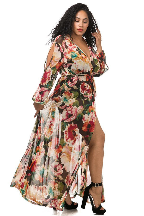Flower Party High Slits Plus Size Maxi Dress