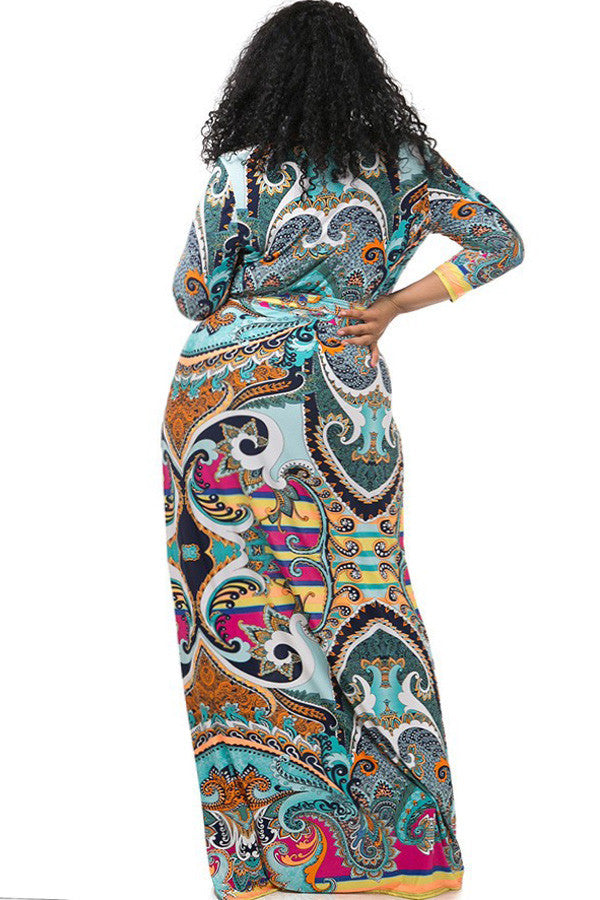 Colorful Victorian Print Surplice Plus Size Maxi Dress