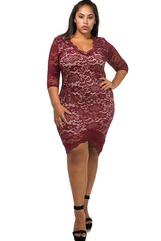 Plus Size Pretty Floral Lace Scalloped Hem Dress
