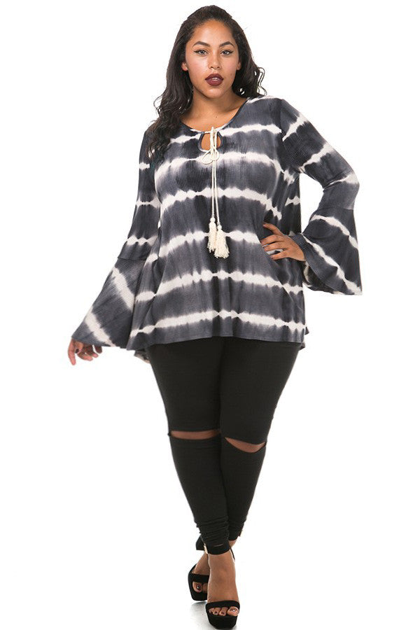 Sexy Tie dye Printed Plus Size Top