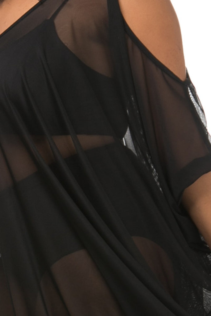 Sheer Mesh Cocoon Plus Size Maxi Dress