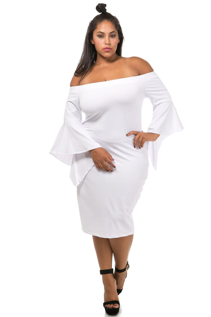 Chic Ruffled Sleeve Off Shoulder Plus Size Dress