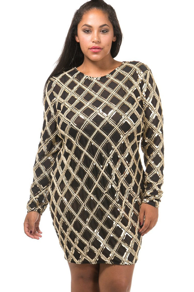 Golden Girl Plus Size Sequin Metallic Dress