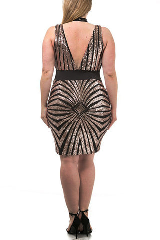 Designer Sequins Strappy Plus Size Dress
