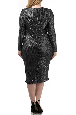 Glam Love Sequin Diamond Plus Size Midi Dress
