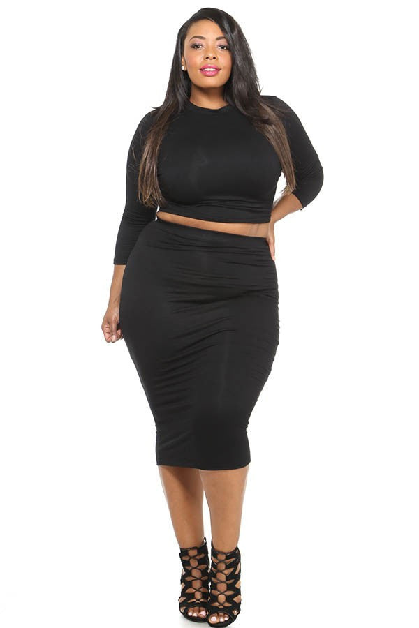 988a8c866 Plus Size Solid Crop Top & Midi Skirt Set – Plussizefix