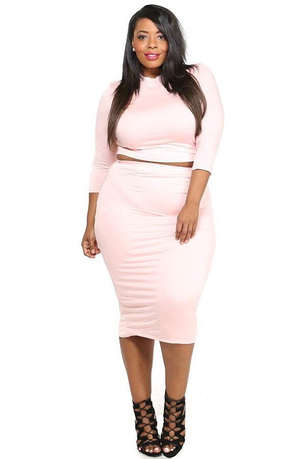 9df68838246e0e Plus Size Solid Crop Top   Midi Skirt Set – Plussizefix