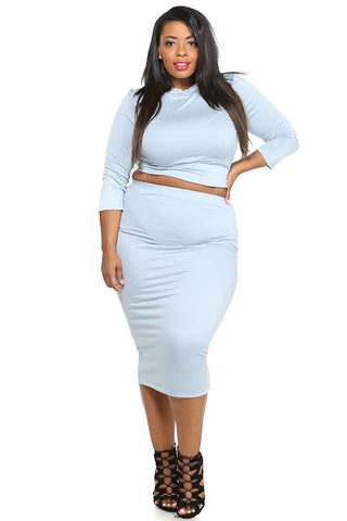 Plus Size Solid Crop Top & Midi Skirt Set