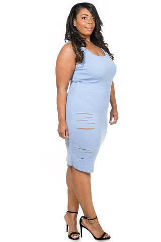 Plus Size Cutout Stretch Rib Tank Dress - LT Blue