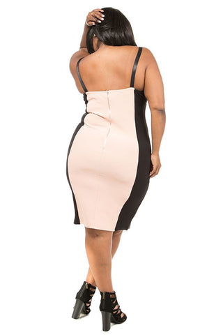 Plus Size Hot Strappy Colorblock Dress