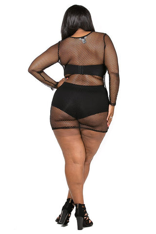 Plus Size Fishnet Mini Dress