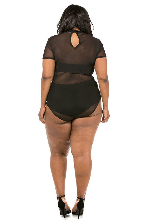 Plus Size Mesh Bodysuit With Flower Patch – Plussizefix b907fdda2